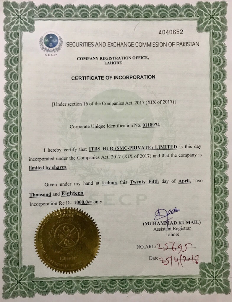 Registration Document Of ITBS HUB